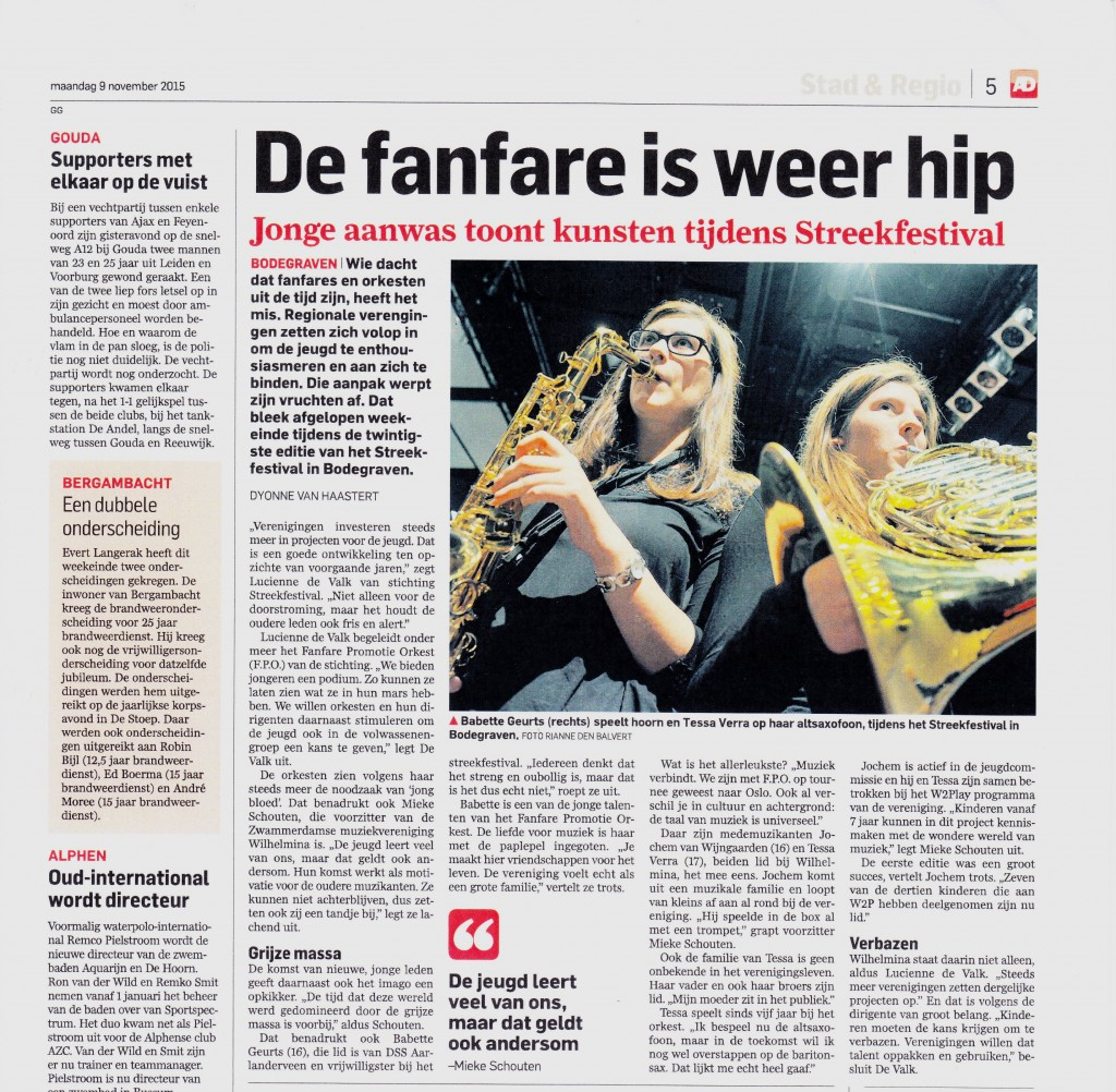 Fanfare is Hip Algemeen Dagblad 9 november 2015